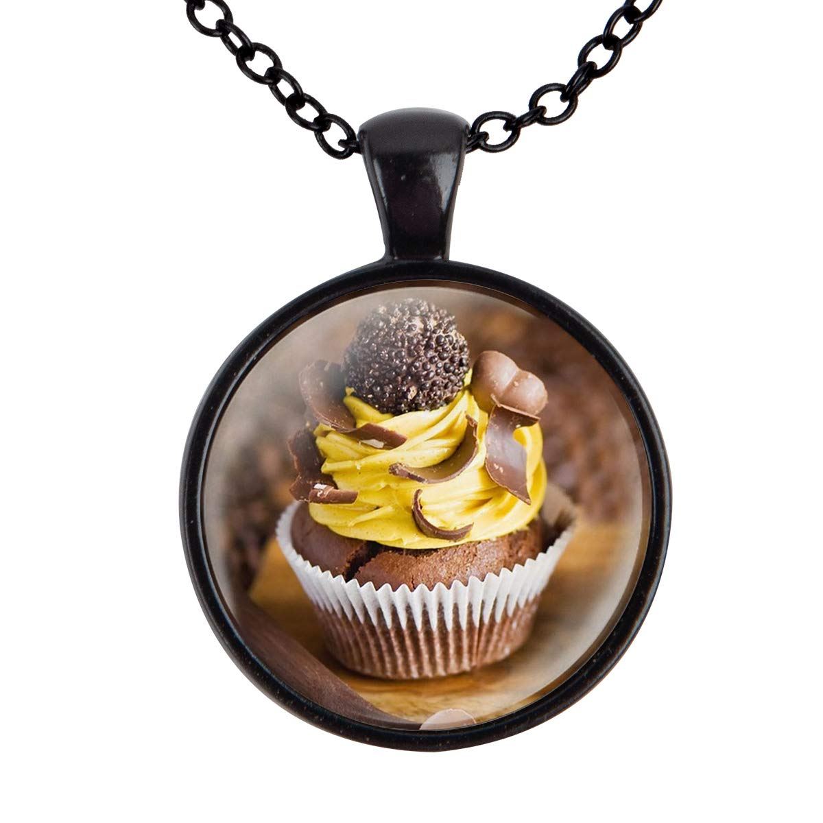 Lightrain Chocolate Cupcake Photo Pendant Necklace Vintage Bronze Chain Statement Necklace Handmade Jewelry Gifts