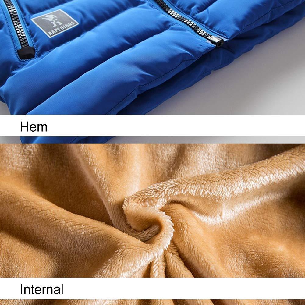 Giacca di cotone ragazzo Inverno addensare Felpa con cappuccio giubbotto Giacca Parker,Blue,1.4m