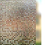 Window Film Privacy Film Static Cling Window Sticker Privacy Glass Films Decorative Film Non-Adhesive Heat Control Anti UV for Home Kitchen Living Room Bedroom Office Meeting Room, Dark Brown 17.5in. By 78.7in. (44.5 x 200cm)