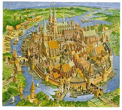 Die Hansestadt im Mittelalter - Haus um Haus: Puzzle mit 1200 Teilen, Motivgröße 61,5 x 61,5 cm, plus Begleitheft