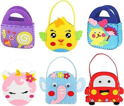 6 Patterns Dsaren 6 Pack Children Sewing Kit Kids Beginners Felt Craft Kit Fabric DIY Crafts Handbag