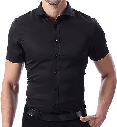 Camiseta Elástica de Vestir Hombre, Manga Corta, Slim Fit, T-Shirt Bambú Fibra Elástica Casual/Formal Ambos Disponible: Amazon.es: Ropa y accesorios