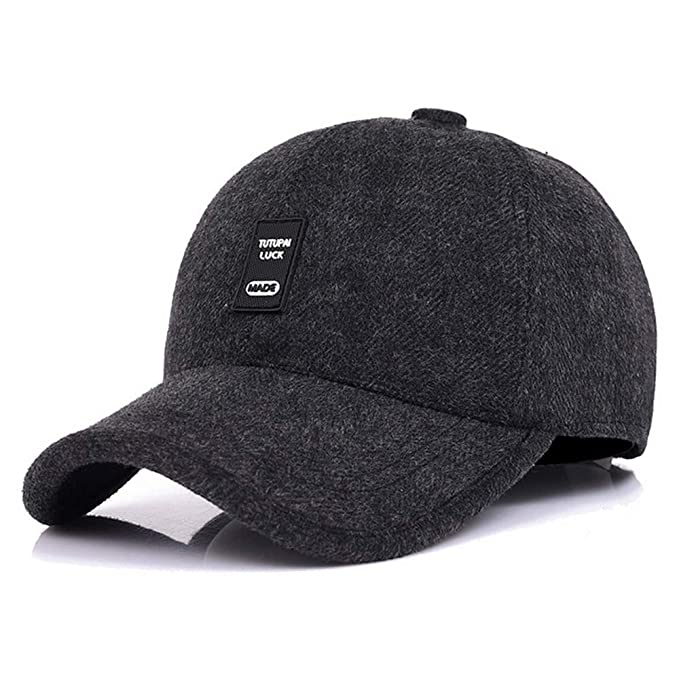 195a0708dc5ae WETOO Men Winter Warm Baseball Caps Wool Tweed Peaked Hats with Ear Flaps   Amazon.co.uk  Clothing