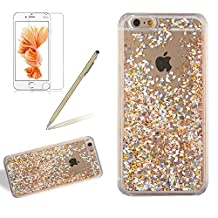 Crystal Clear Hard Case For Iphone 4 / Iphone 4S, Girlyard Water Flowing Bling Case Glitter Sparkle Diamond Gold Leaf Pattern Cover Luxury Stars Hourglass Back Case Cover [Free Screen Protector], Gold