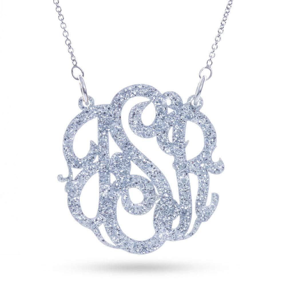 Eves Addiction Silver Glitter Acrylic Monogram Necklace