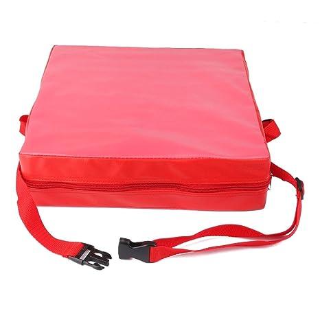 Cojin de silla - TOOGOO(R) Cojin elevador de silla ninos Asientos de almuerzo portatil de piel sintetica de ninos Rojo