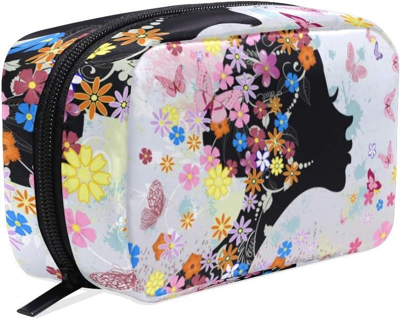 Peinado floral flor mariposa pequeña bolsa de maquillaje monedero bolsa de maquillaje mini cosméticos para mujeres niñas neceser para organizador con compartimentos accesorios de viaje