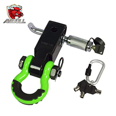 AMBULL Shackle Hitch Receiver 2 Inch, with 3/4 Inch D-Ring Shackle, Locking Pin, 2 Insurance Pins, Heavy Duty Solid Recovery Kit, Green: Automotive