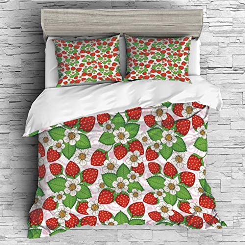 3 Pieces (1 Duvet Cover 2 Pillow Shams)/All Seasons/Home Comforter Bedding Sets Duvet Cover Sets for Adult Kids/King/Spring Decor,Floral Pattern with Strawberries Flowers Leaf Season Cute Inspirationa ()