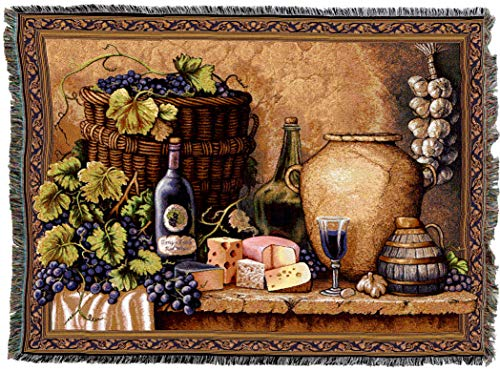 (Pure Country Weavers | Wine Tasting Woven Tapestry Throw Blanket with Fringe Cotton USA 72x54)