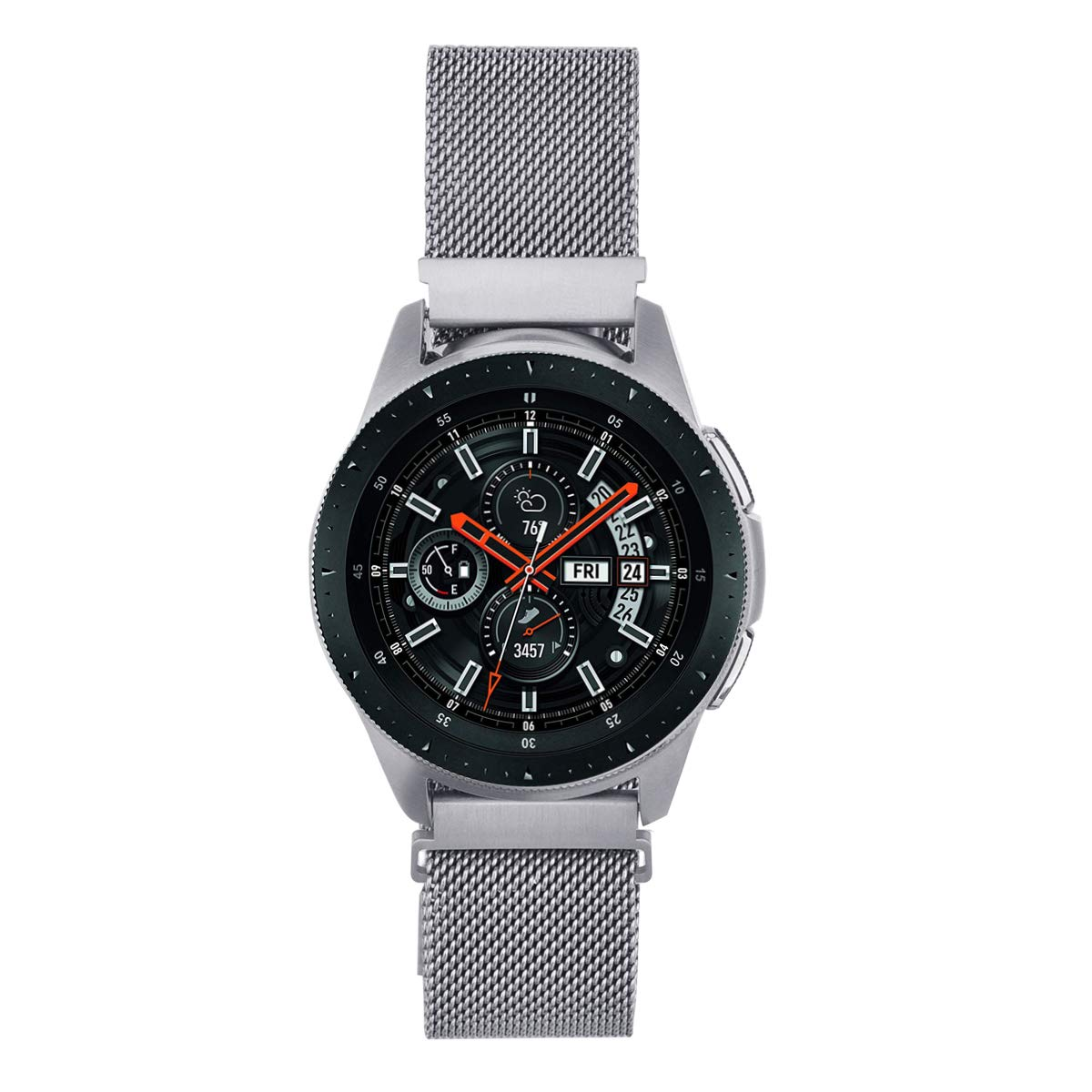 V-MORO Strap Compatible with Galaxy Watch 46mm Bands/Gear S3 Classic Band Silver 22mm Loop Mesh Stainless Steel Bracelet Replacement for Samsung ...