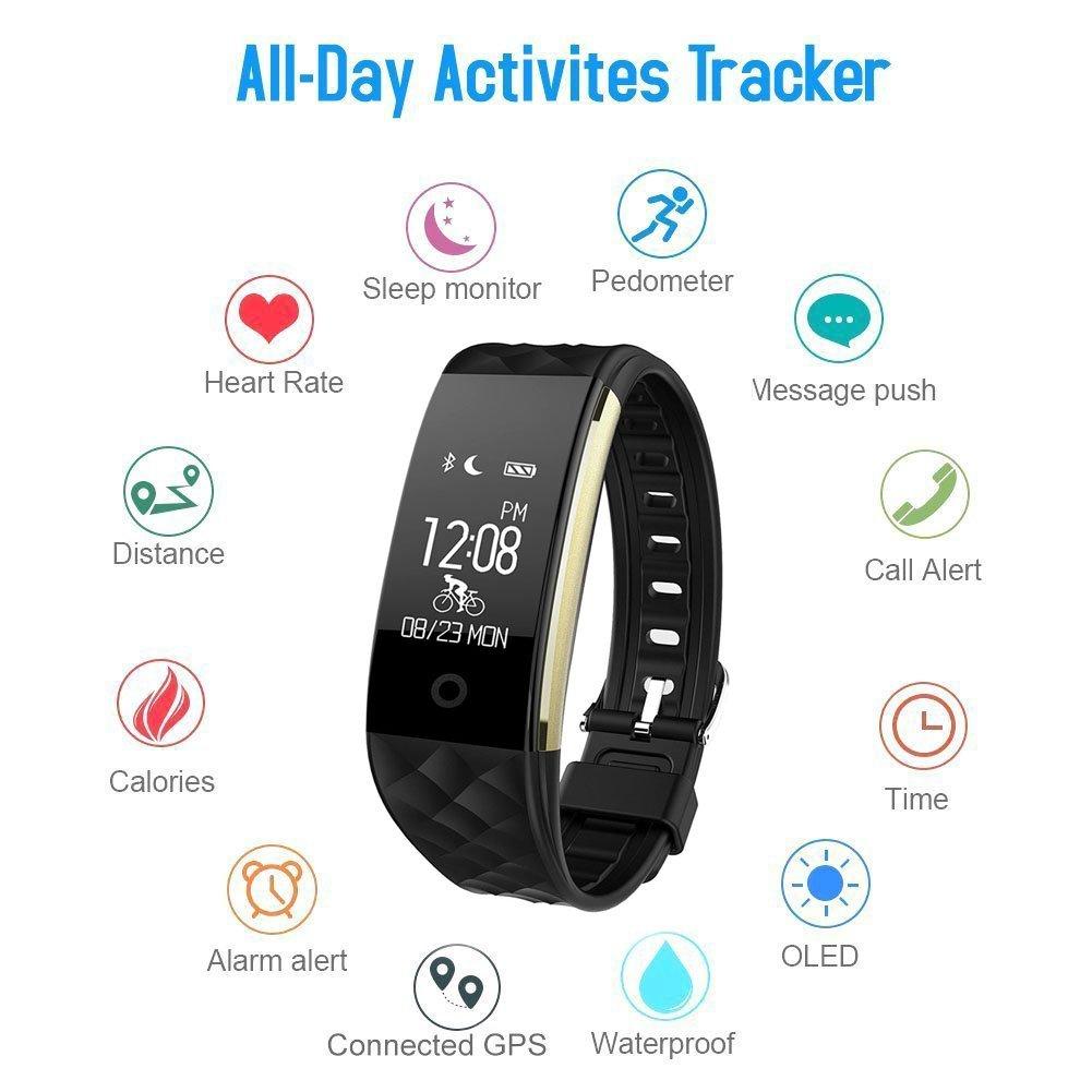 HETP Montre connectée HR, Bracelet Connectée Samsung/iOS/Android Bluetooth Sport Fitness Tracker dActivité Cardiofréquencemètre,étanche IP67 Smart Watch ...