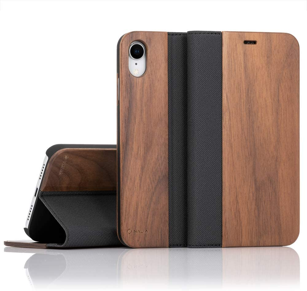 NALIA Wood Flip Case Compatible with Apple iPhone XR, Handmade Leatherette Wallet Smart-Phone Book Cover Slim Back & Front Protector, Full-Body Shockproof Bumper with Card Slots, Color:Walnut