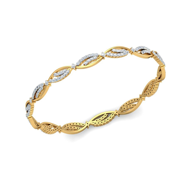 Buy Avnni By Nakshatra 14KT Yellow Gold and Diamond Bangle for ...