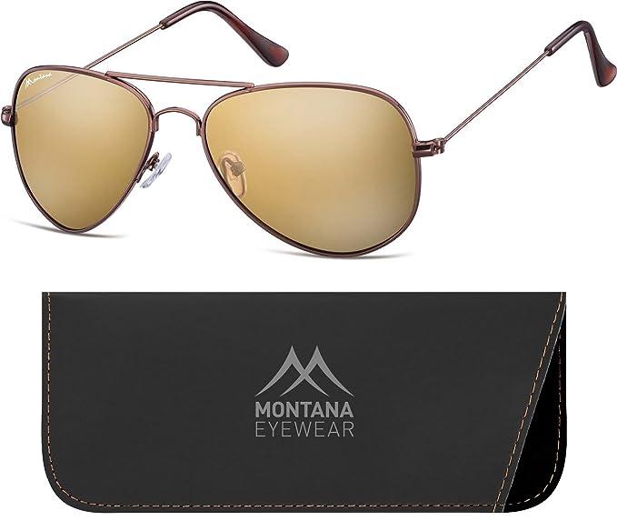 Montana MS94, Occhiali da Sole Unisex-Adulto, Multicoloured (Gold/Revo Brown), Taglia unica