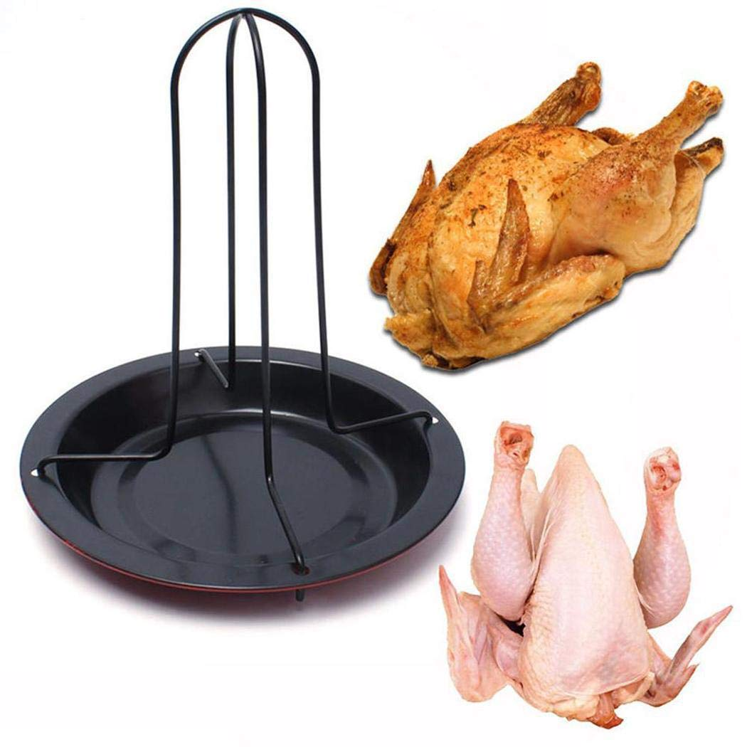 Evelove Roasting Chicken Duck Holder Rack Non Stick Kitchen Outdoor BBQ Rack Grill Pans by evelove (Image #2)