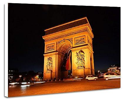 amazon com arc de triomphe at night prints artwork on wood board
