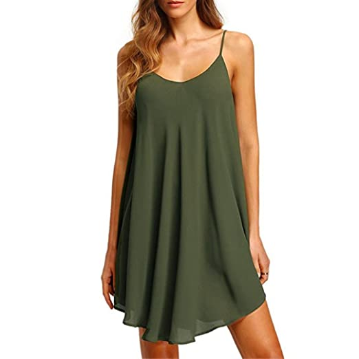 TIFENNY Womens Solid Elegant Chiffon Sleeveless Casual Loose Dress Party Mini Dress (S, Green