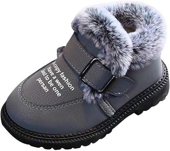 DAY8 Chaussures Garcon Cuir PU Hiver Chaude Fourree Botte