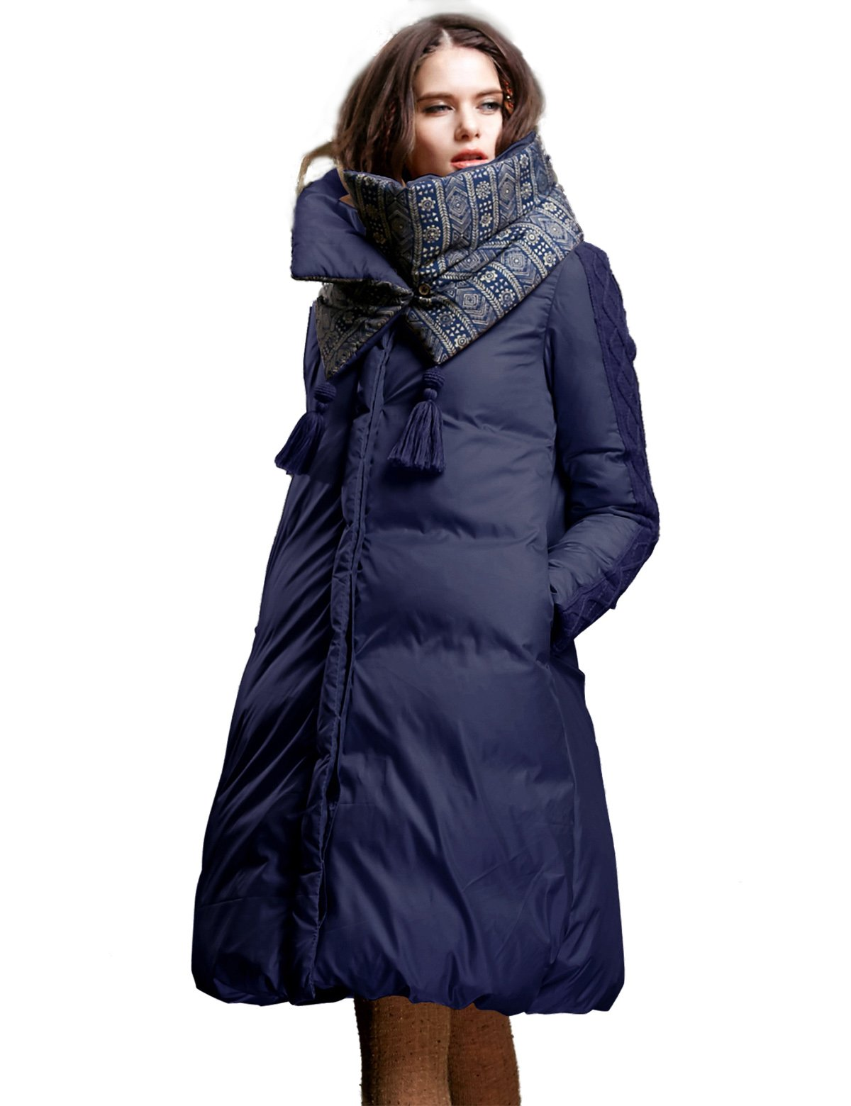 Artka Women's Vintage Indian Style Down Coat with Removable Scarf Winter Jacket Lightweight Outwear