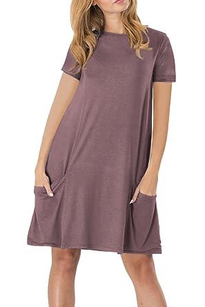 YMING Damen Kurzarm mit Taschen Kleid Lose T-Shirt Kleid Rundhals Casual  Tunika Midi Kleid,Kaffee,M DE 38-40  Amazon.de  Bekleidung 82f25a84a9