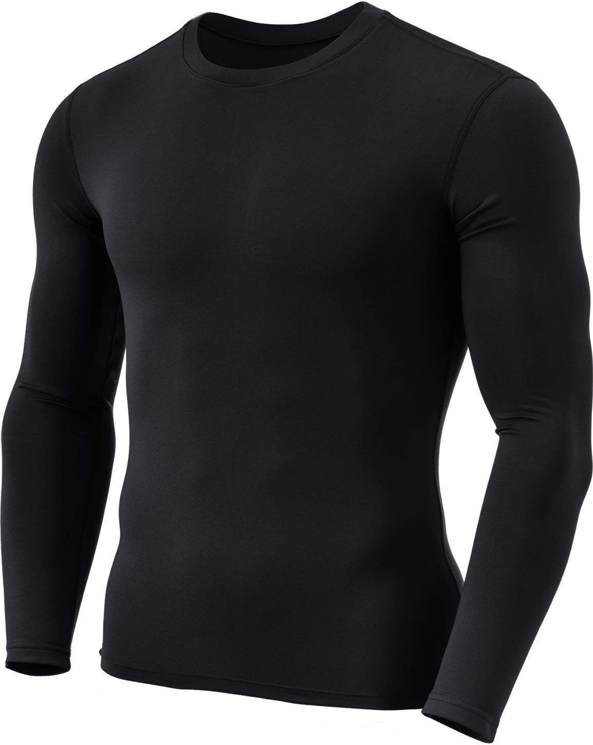 TSLA Men's Thermal Wintergear Compression Baselayer Long Sleeve Top, Thermal Basic(yud21) - Black, X-Large by TSLA