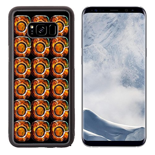 Luxlady Samsung Galaxy S8 Plus S8+ Aluminum Backplate Bumper Snap Case IMAGE ID: 24061915 Stack bottle top background on black background Flat Bac Water Bottle