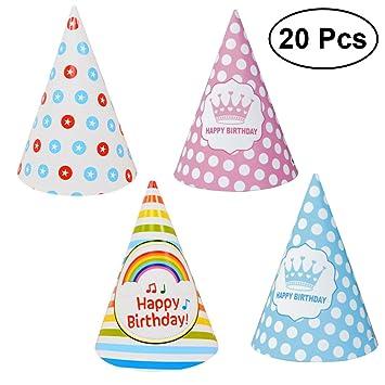 TOYMYTOY 20 piezas sombreros de cono de cumpleaños ...