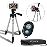 "Acuvar 50"" Inch Aluminum Camera Tripod with Universal Smartphone Mount and Bluetooth Wireless Remote Control Camera Shutter for Smartphones"