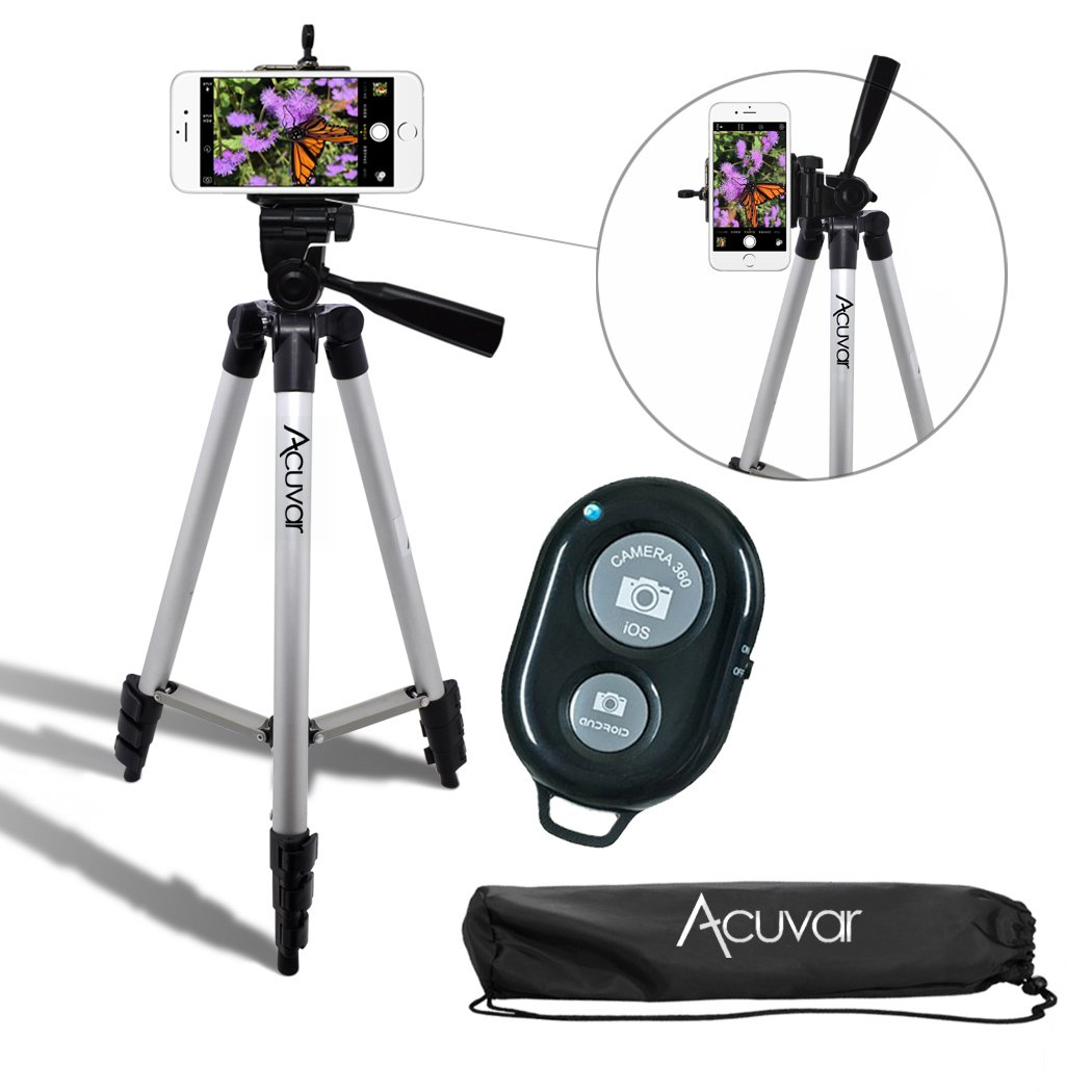 Acuvar 50'' Inch Aluminum Camera Tripod with Universal Smartphone Mount and Wireless Remote Control Camera Shutter for All Smartphones
