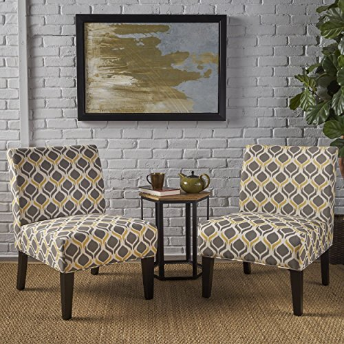 Christopher Knight Home 298321 Kalee Yellow and Grey Fabric Dining Chair (Set of 2), (And Yellow Chair Gray Accent)