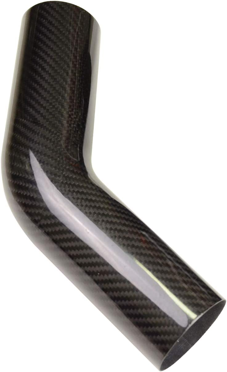 1.5mm Thickness 45 degree Carbon Fiber Elbow no Logo, Emblems or Markings 3K Twill Real Carbon Fiber Bent Tube 150mm 3.5 Outer diameter OD 3.5 inch 89mm Leg Length 6 inch