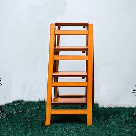 Escalera Plegable de múltiples Funciones para el hogar de Madera Maciza Escalera de Tres Pasos Escalera para Silla Taburete Escalera Ascendente para Interiores Escalera de Madera en Rack 42 × 68 × 92: Amazon.es: Hogar