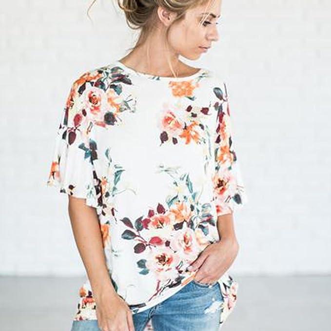 Teresamoon Loose Tops Womens Floral Printing Blouse T Shirt at Amazon Womens Clothing store: