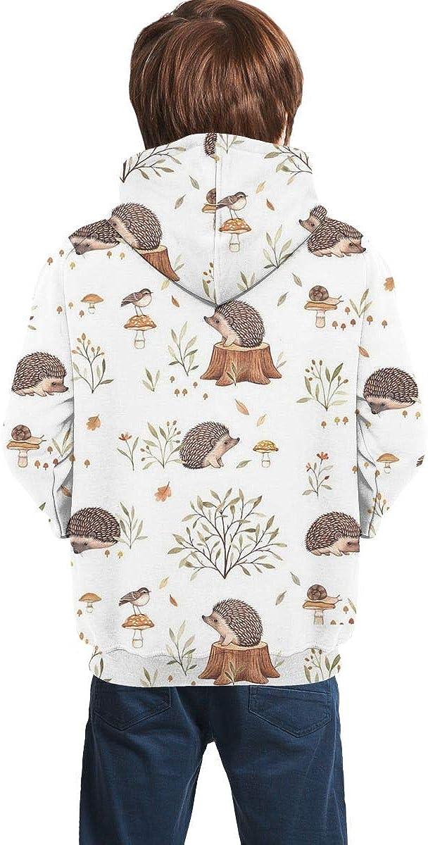 Lovely Hedgehog Realistic 3D Digital Printed Pullover Tops for Boys Girls 7-20 Years Youth Hoodie Sweatshirt