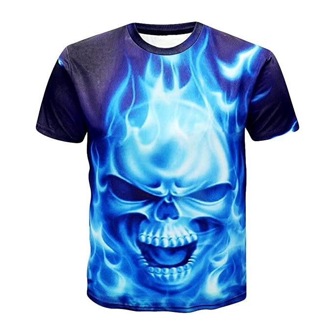 4e8725e0576b Kanpola T-Shirt Herren Schwarz Adler Totenkopf 3D Print O-Neck Slim Fit  Deutschland