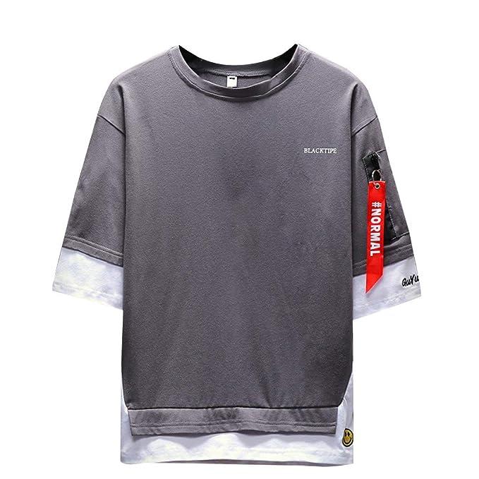 Camisetas para Hombre, YpingLonk Dos Piezas Falsas T-Shirt Suelto ...