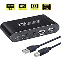 AIMOS KVM HDMI Switch, USB Switch 4K HDMI Switcher Box 2 In 1 Out For 2 Computers Share Keyboard And Mouse Support 4K@30Hz 3D for Laptop, PC, PS4, Xbox HDTV - With 2 USB Cable, 1 Power Cable