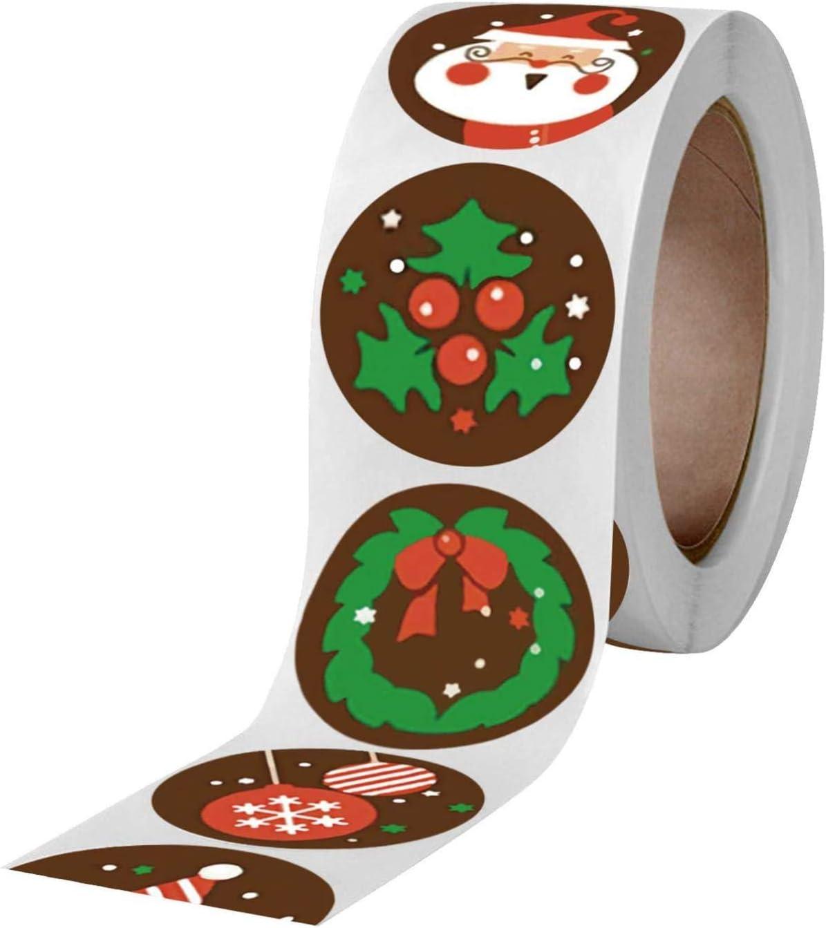 WasaFire Pegatina Navidad Etiqueta Adhesiva Redonda Papel Decoraci/ón Cajas Regalos Bombones Caramelo Regalo Fiesta Sello Bolsas para decoraci/ón de Navidad