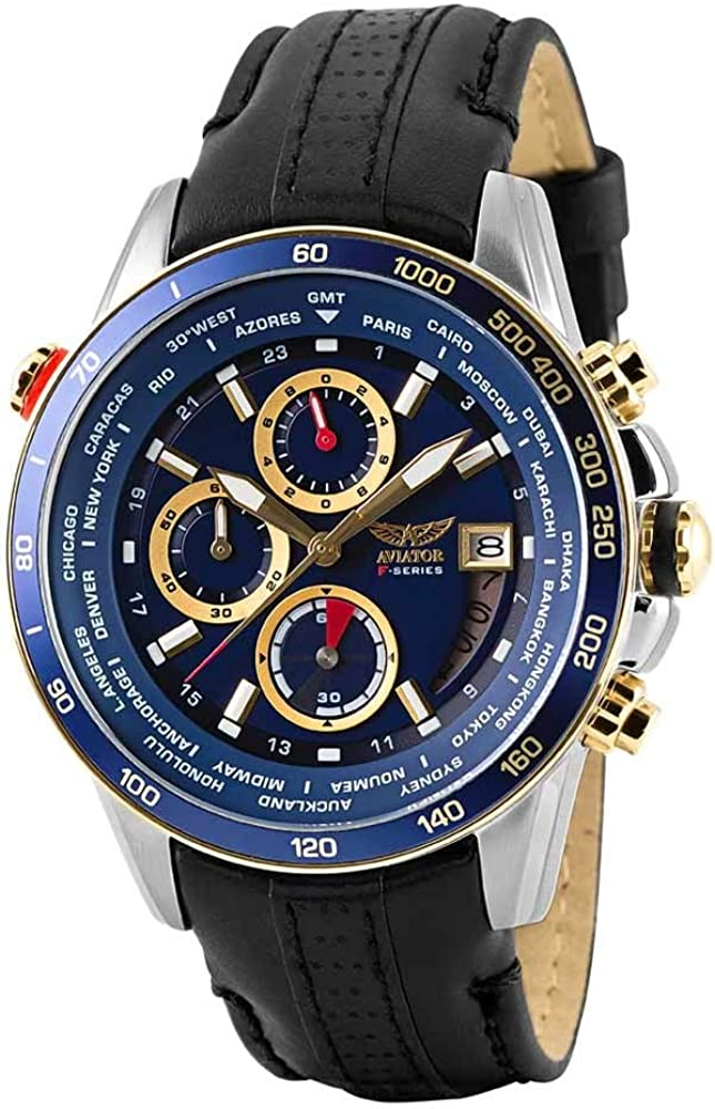 AVIATOR Watch for Men Aviation Sport Quartz Flight Series Blue Dial Silver Gold Timepiece Black Strap Waterproof 10 ATM Pilot Chronograph Wristwatch