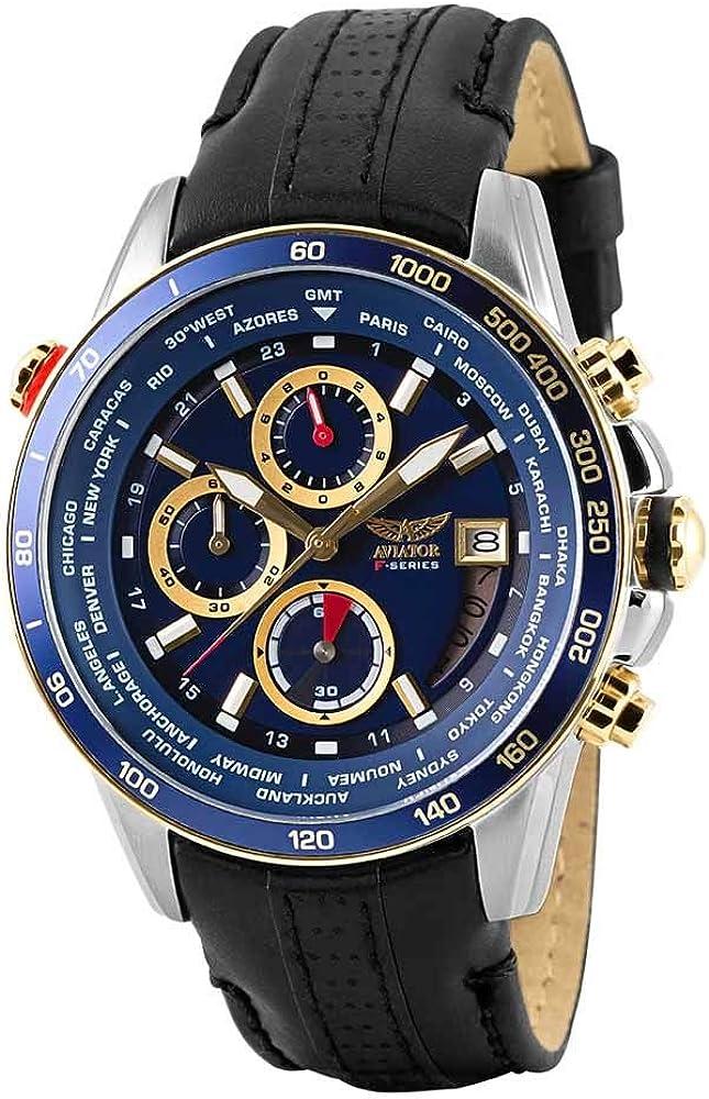 AVIATOR Watch for Men Aviation Sport Quartz Flight Series Blue Dial Silver Gold Timepiece Black Strap Waterproof 10 ATM Pilot Chronograph Wristwatch
