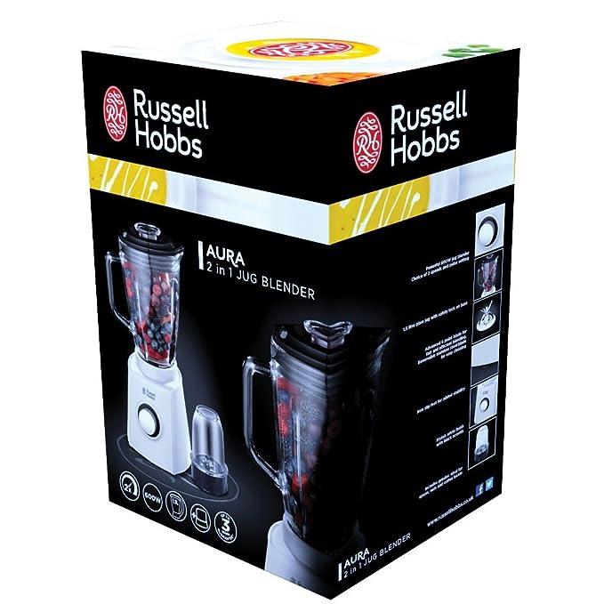 Russell Hobbs Aura Batidora picadora de 750w con Vaso de cristalde 1,5 litros, 750 W, Plástico, 2 Velocidades, Blanco: Amazon.es: Hogar