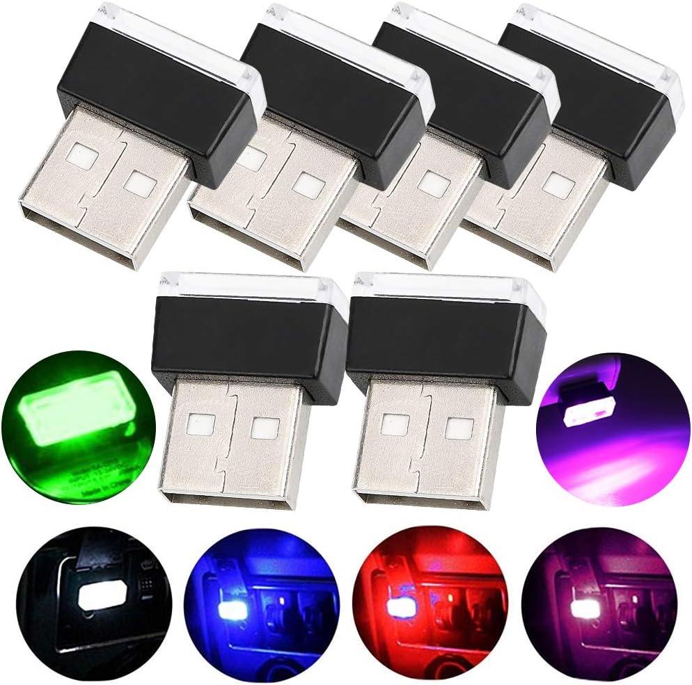 WENTS 6PCS Iluminación USB para coche, luces de interior de coche Atmosphere Luz Mini inalámbrica USB universal luz LED para coche y portátil y banco de energía
