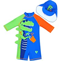 Childlike Me Baby Toddler Boy One Piece Swimsuit Boys Short Sleeve Sunsuits with Hat UPF 50+ Cool Crocodile