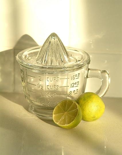Estilo Vintage exprimidor de cristal y jarra medidora
