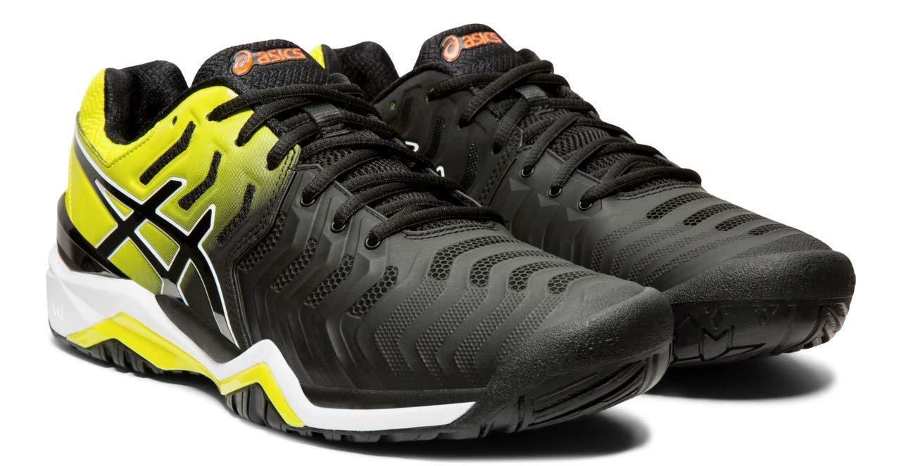 ASICS Gel-Resolution 7 Men's Tennis Shoe, Black/Sour Yuzu, 6 M US