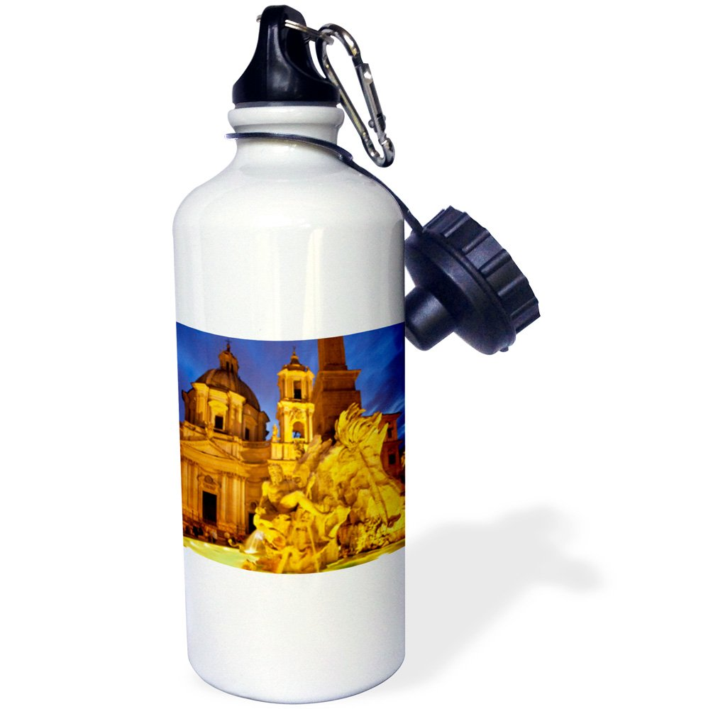 3dRose wb_137603_1 ''Berninis Fountain, Piazza Navona, Rome, Italy EU16 BJN0132 Brian Jannsen'' Sports Water Bottle, 21 oz, White