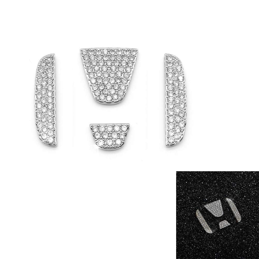 TopDall Steering Wheel Unique Crystal Badge Emblem Bling Decal Decoration Cover Sticker Trim for Honda Civic Accord CRV Odyssey City Fit