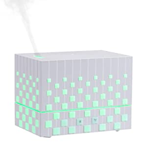 Cool Mist Humidifier, Rubik'sCubeDesign Ultrasonic Essential Oil Diffuser Whisper Quite, Air Humidifier for Home Bedroom Baby Nursery and Office (white)