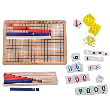 Homyl Kit De Montessori Addition Et Division Plaque En Bois Et Perles Carte De Numero Set